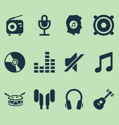 music icons set collection of silence cd barrel vector image