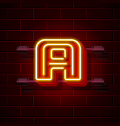 Neon city font letter a signboard vector