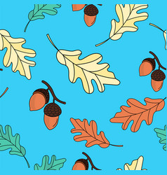 oak leaves autumn seamless pattern vector image