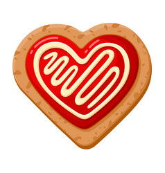 oat heart formed cookie homemade sweet pastry vector image