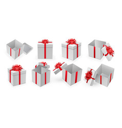 Open present box with red ribbon and bow vector