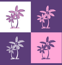 palm trees and leaves line silhouette isolated on vector image