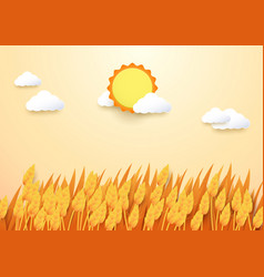 Paper art style barley field with sun and cloud vector