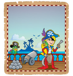 parchment with pirate ship deck 4 vector image