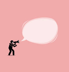 person talking and shouting using a megaphone to vector image