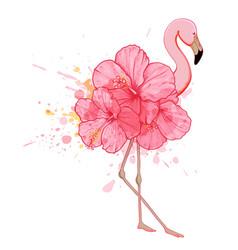 Pink floral flamingo vector