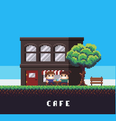 Pixel art cafe vector
