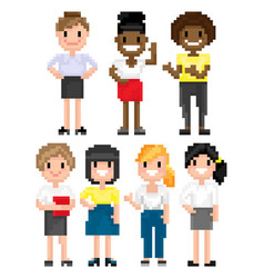 Pixel people females secretary office workers vector
