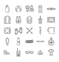 rafting kayak water canoe icons set outline style vector image