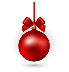 Red christmas ball with ribbon and bow on white vector