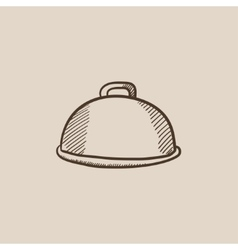 Restaurant cloche sketch icon vector image