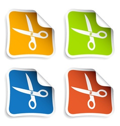 scissors stickers vector image