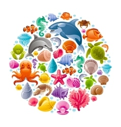 Sea travel icon set with underwater diving animals vector