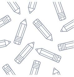 seamless pattern with pencils isolated on white vector image