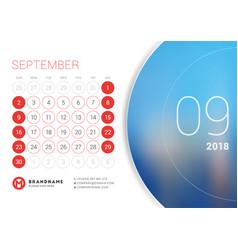 September 2018 desk calendar for 2018 year vector