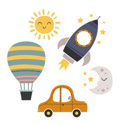 Set bohemian baby icons with transport vector