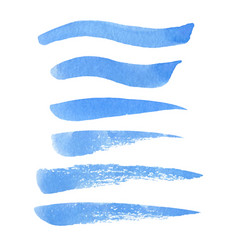 set of hand painted blue grunge texture brush vector image