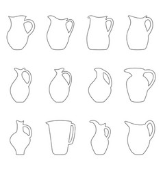 set of jugs vector image