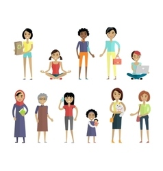 Set of Women of Different Ages and Races Isolated vector