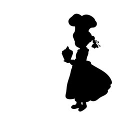 silhouette girl cook international chefs day vector image
