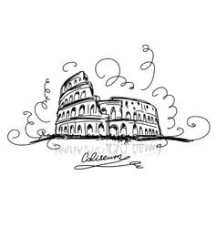 Sketch roman colosseum vector