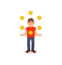 Smiling young man juggling with bitcoins vector