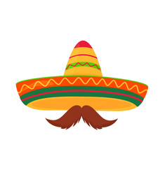 sombrero and mustache isolated on white background vector image