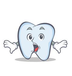 Surprised tooth character cartoon style vector