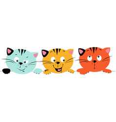 three cute cats peeking out from behind deskto vector image