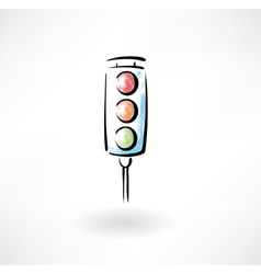 Traffic light grunge icon vector