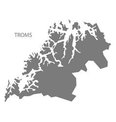 Troms norway map grey vector