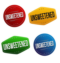 unsweetened sticker or label set vector image