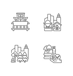 Urban agriculture production linear icons set vector