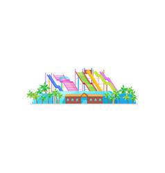 water park exterior aquapark slides palms vector image