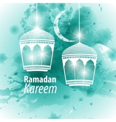 Watercolor blue Ramadan kareem vector image