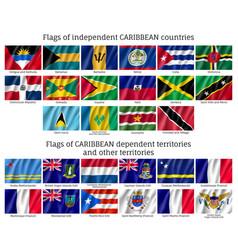 Wavy flags caribbean countries vector