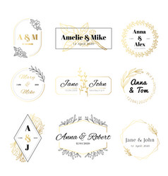 wedding invitation labels minimalist floral vector image