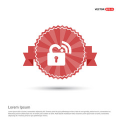 Wifi locked signs - red ribbon banner vector