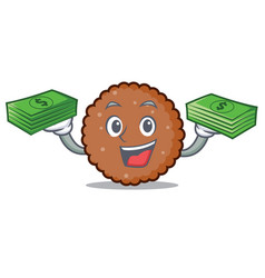 With money bag chocolate biscuit mascot cartoon vector