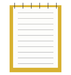 yellow notepad on white background vector image