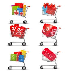 Group of shopping carts full of shopping bags and vector image vector image