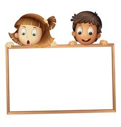 Kids holding wooden frame vector image