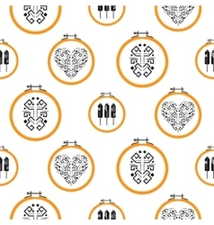 Needlework design on embroidery hoops pattern vector image vector image