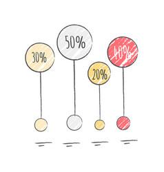 percentage visualization icon vector image vector image