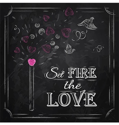 Valentines Day Poster chalk vector image