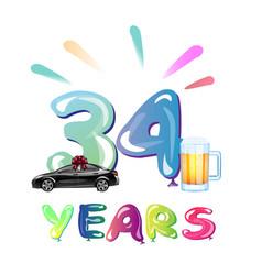 34th happy anniversary celebration birthday vector image vector image