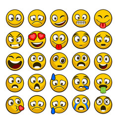 emoji and sad icon set vector image