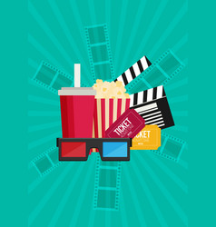 movie poster template popcorn soda takeaway 3d vector image