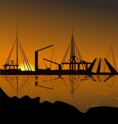 silhouette of a harbor vector image vector image