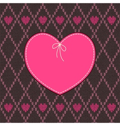 Vintage Heart Shape Design with Knitted Pattern vector image vector image